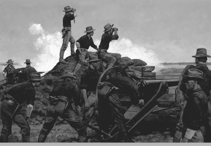 American artillery battery, Spanish American War. US ...