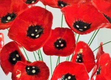 Flores amapolas cerámica  5 día de la conmemoración de la