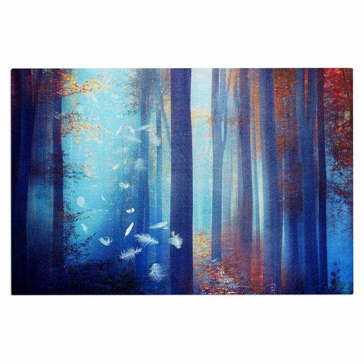 """Viviana Gonzalez """"Dreams In Blue"""" Red Trees Decorative Door Mat"""
