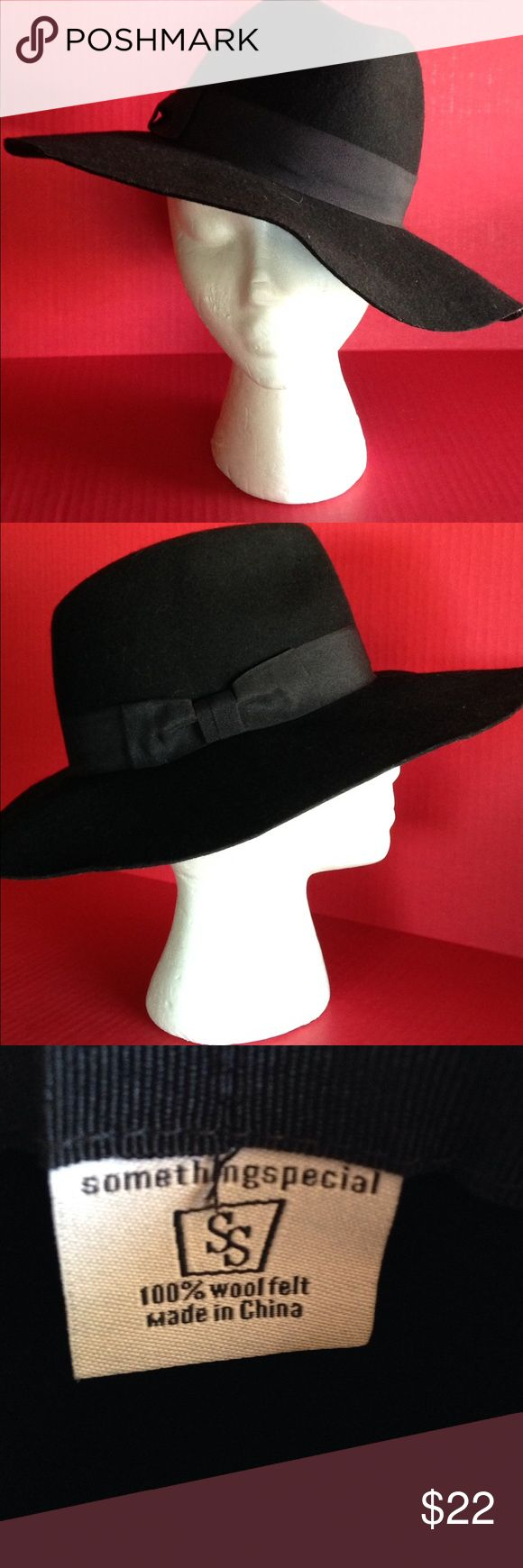 """BLACK FLOPPY HAT BOHO CHIC WIDE BRIM🍒 Black wool felt hat by Something Special..never worn; in excellent condition! Great for winter bad hair day camouflage! I have one myself😍 4"""" brim and inner circumference is approx. 20""""...would fit a M to L Very Cherry Accessories Hats"""