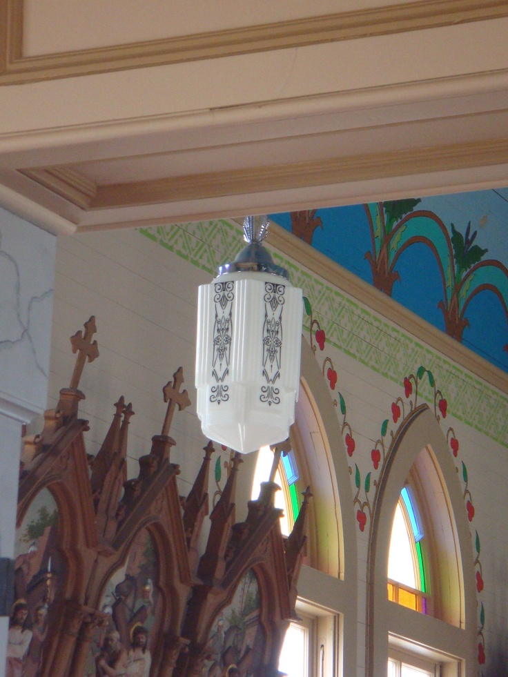 art deco light fixture in Sts Cyril and Methodius Church, Dubina Texas.  One of the painted churches of Fayette Co.