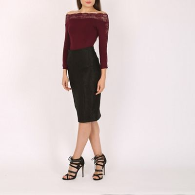 Jane Norman Purple lace detail bardot top | Debenhams
