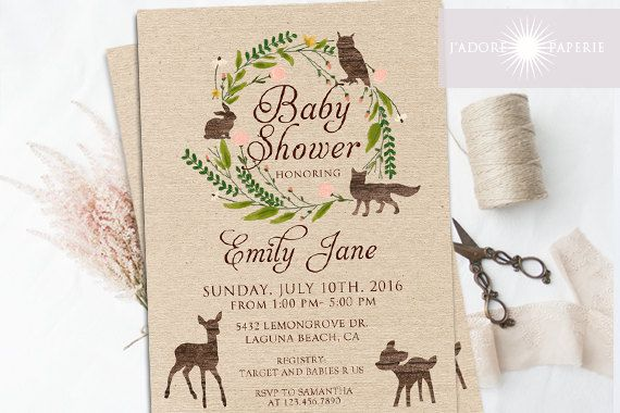 Hey, I found this really awesome Etsy listing at https://www.etsy.com/listing/454641660/woodland-baby-shower-invitation-woodland