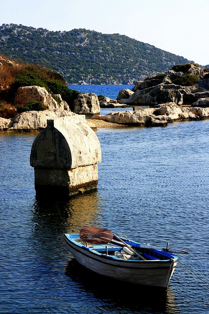 The old Lycian tomb in the sea,Antalya,Turkey sarcophaguses in the sea of Kekova by the reason of earthquakes continued since 2000 years, Antalya - Turkey.
