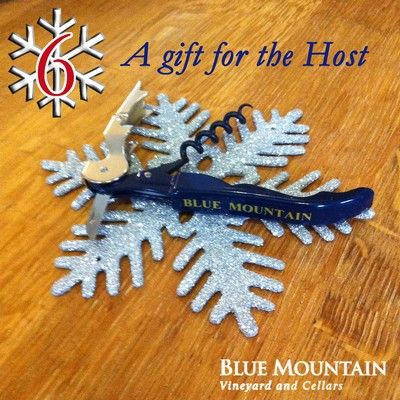 12 DAYS OF CHRISTMAS - Day 6: A gift for the Host.... Blue Mountain Corkscrew!  SPECIAL OFFER! We are including a FREE Blue Mountain corkscrew with the purchase of a case of Blue Mountain wine, ordered on December 6th. Add #bluemtncorkscrew to your order notes.  To enter our 12 days of Christmas contest visit: http://www.bluemountainwinery.com/blog/12-days-of-christmas-with-blue-mountain