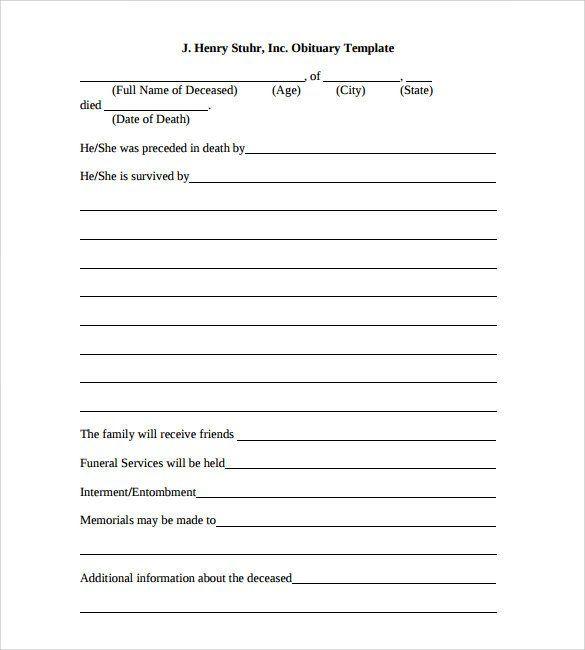 Free Printable Obituary Templates Sample Obituary Template 11