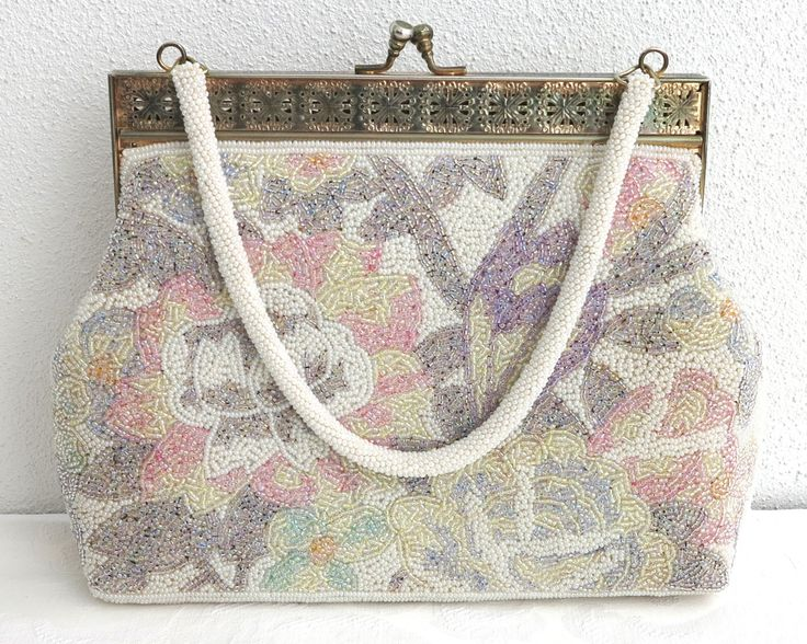 Vintage beaded bag with pastel multi colored beads in floral pattern, filigree metal frame, beaded handle, larger evening bag, circa 1960s by CardCurios on Etsy