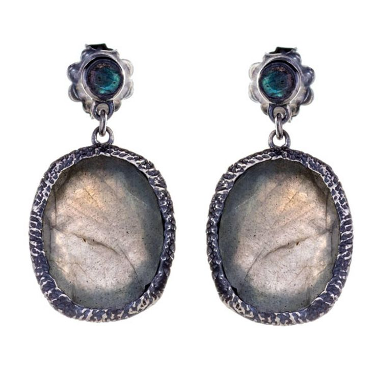 Jade Jagger Maiden Labradorite Earrings | From a unique collection of vintage drop earrings at https://www.1stdibs.com/jewelry/earrings/drop-earrings/