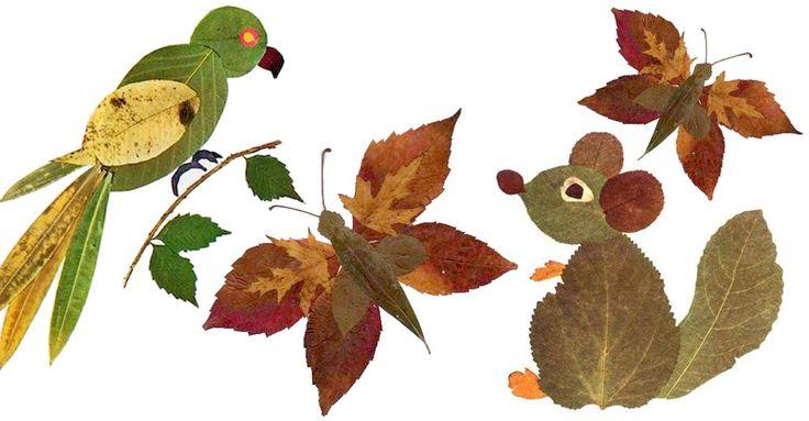 En räv, en katt eller en elefant. Pyssla fram ditt favoritdjur av löv.