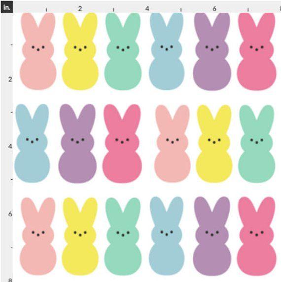 Pretty Rabbit Bunny Silhouette 100/% Cotton Quilting Craft Fabric