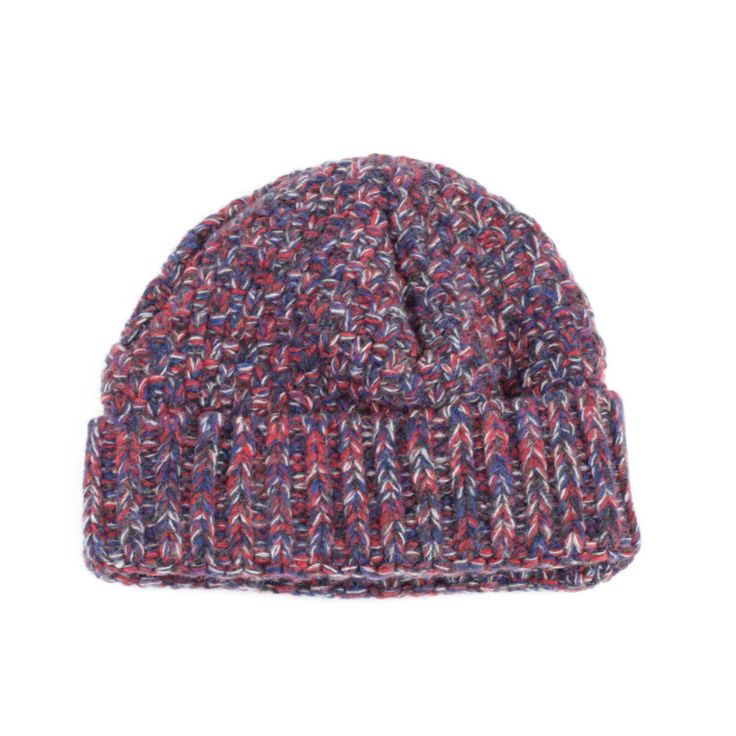 Oliver Spencer Hamilton Hat (Red Multi): Oliver Spencer Hamilton Hat (Red Multi) Basket Knit Hat Ribbed Finish One Size 100% Extrafine Wool  A seasonal variation on the classic Oliver Spencer Cable Knit Hat, the hamilton offers a two tone basket weave for a simple style with a splash of colour.