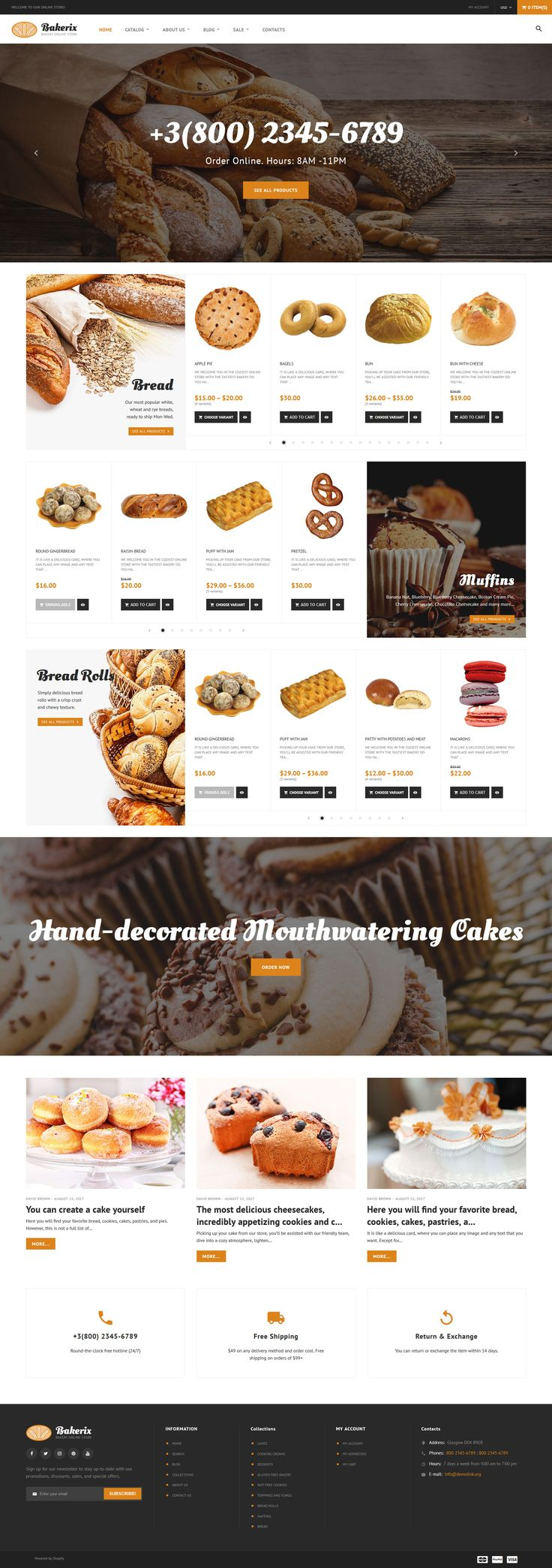 Bakery Responsive Shopify Theme #64056