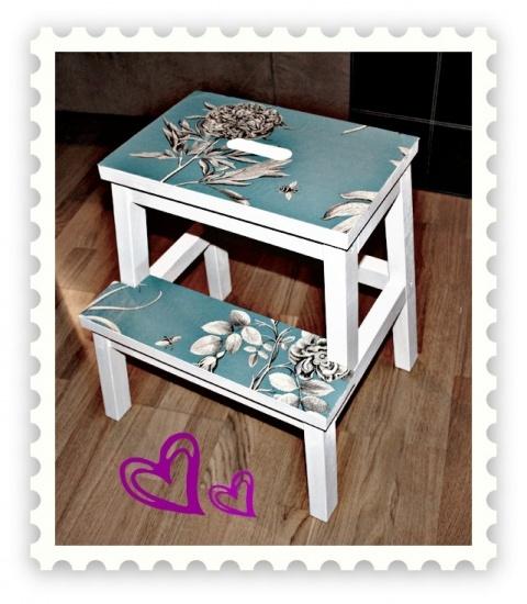 Painted and decoupaged IKEA Bekväm step stool.