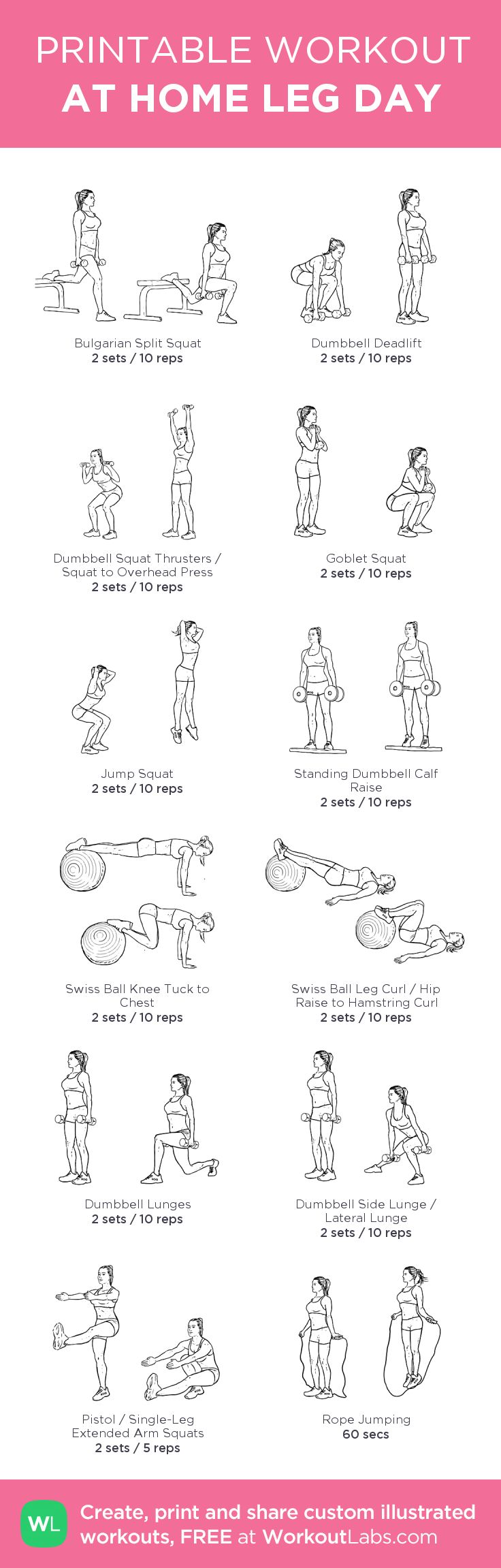 AT HOME LEG DAY – my custom workout created at WorkoutLabs.com • Click through to download as printable PDF! #customworkout