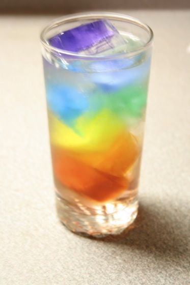 rainbow water - for St Patricks Day food coloring in ice cubes. Sparkling water or a healthier version of Sprite
