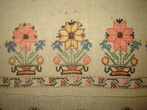 19th-C-ANTIQUE-OTTOMAN-TURKISH-HAND-EMBROIDERY-ON-LINEN-YAGLIK