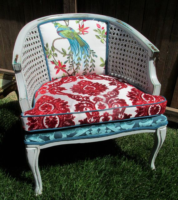 $390. Peacock Cane Accent Chair-Teal & Red Chenille with by MyHauteStuff