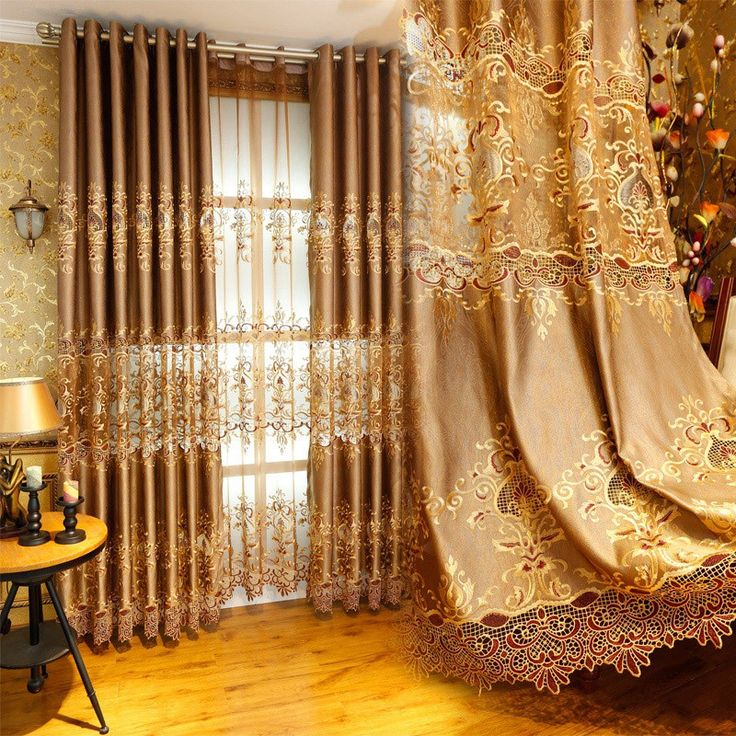 FREESHIPPING Fashion water-soluble embroidered luxury screens gold embroidery curtain blackout cloth curtain for living room $50