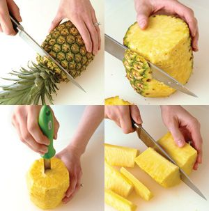 99 best shapes cut out of vegetables or fruit images on pinterest how to cut cut off the top and bottom of the pineapple holding the fruit ccuart Choice Image
