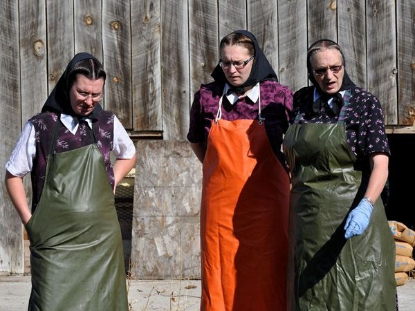 The Hutterites Sarah, Kristy and Judy Hofer preparing to make the soap.