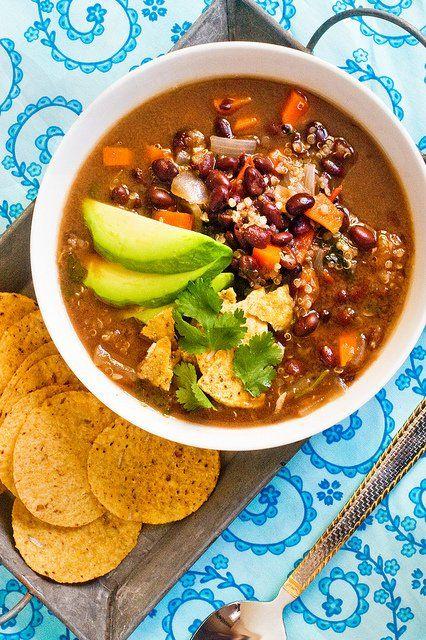 Black Bean  Quinoa Soup: like an enchilada you can enjoy with a spoon!