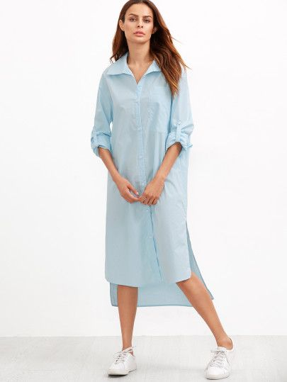 Blue Roll Sleeve Side Slit High Low Shirt Dress