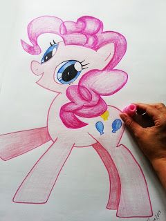 How to make your own hand drawn Pin the Tail on the Donkey :: My Little Pony Friendship is Magic Party :: Pinkie Pie :: How to easily scale up or enlarge an image by hand