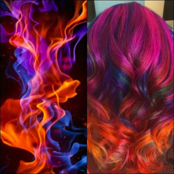Fiery Hair Color interpretation of a dancing flame by Samantha Daly a.k.a. @bottleblonde76 hotonbeauty.com