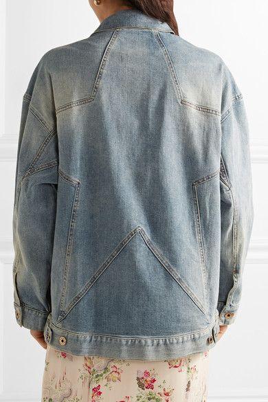 Roberto Cavalli - Oversized Paneled Stretch-denim Jacket - Mid denim - IT48
