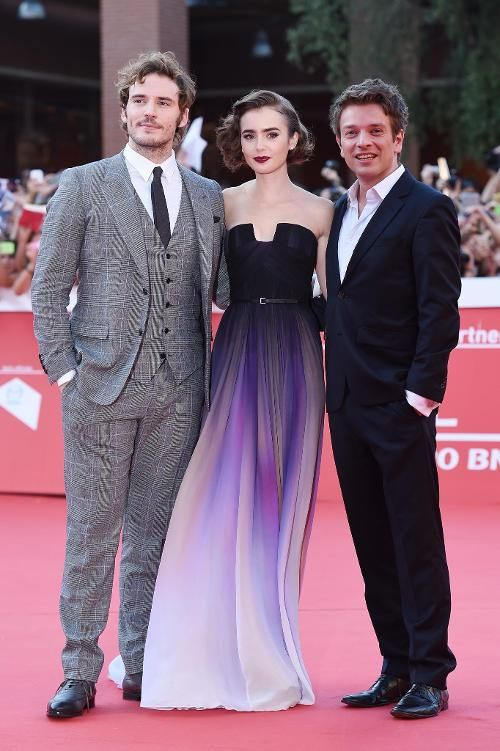 Lily Collins Is a Vision on the Red Carpet at the Rome Film Festival. Sam Claflin's  suit makes me dizzy, but I like it too.