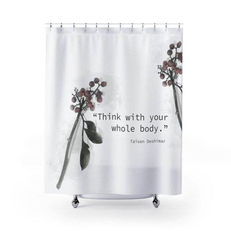 Mindfulness Quote Shower Curtain Zen Bathroom Decor Botanical