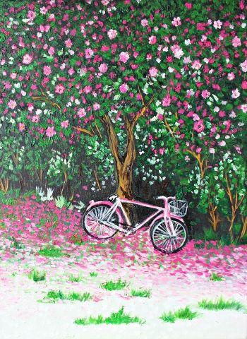 Картина маслом Розовый велосипед