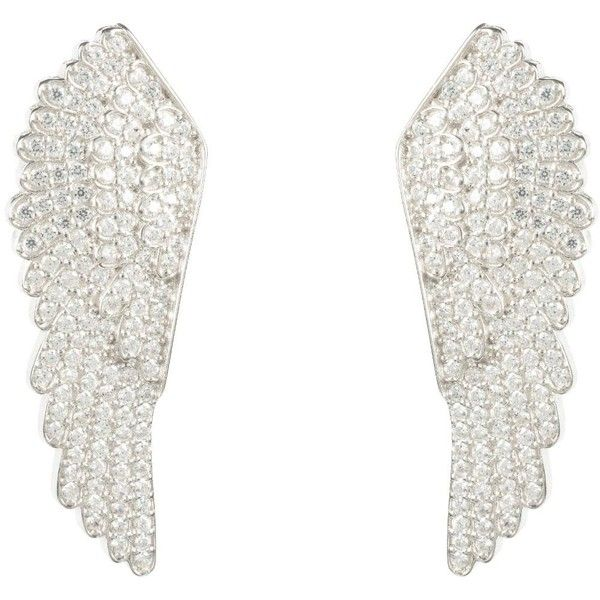 Latelita London - Large Angel Wing Earring Silver ($205) ❤ liked on Polyvore featuring jewelry, earrings, silver angel wing earrings, angel wing jewelry, angel wing earrings, silver jewelry and silver jewellery