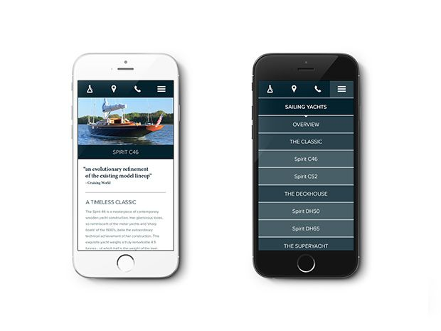 Master yacht builders, Spirit Yachts new website #website #mobiledevice #iphone #design #yacht #spirityacht #sail See the porfolio of the work on Spirit Yachts here http://www.kingslandlinassi.com/projects/spirit-yachts/