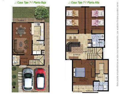 Planos de Casas y Plantas Arquitectónicas de Casas y Departamentos: Planta arquitectónica de casa con estancia amplia