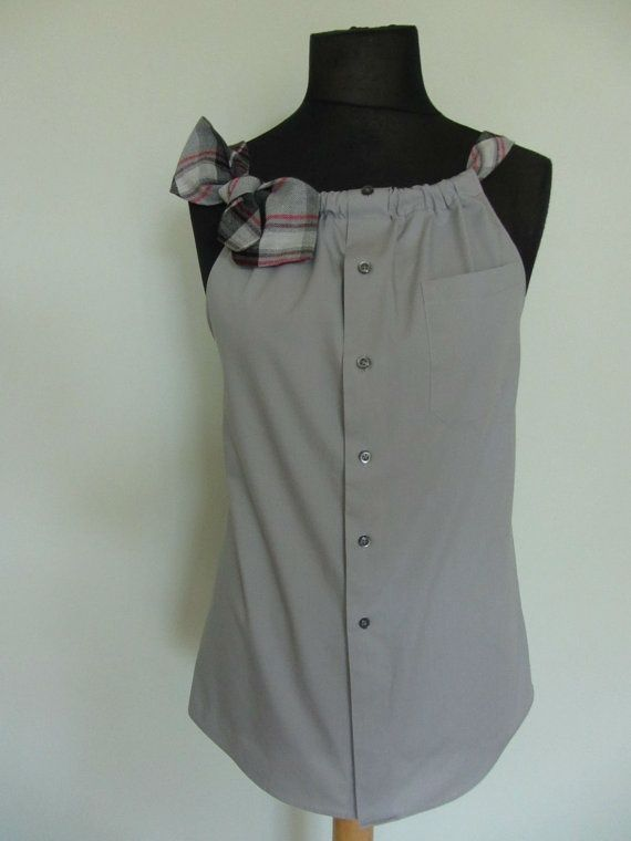 Upcycled Clothing / Gray Boyfriend Tank by GarageCoutureClothes