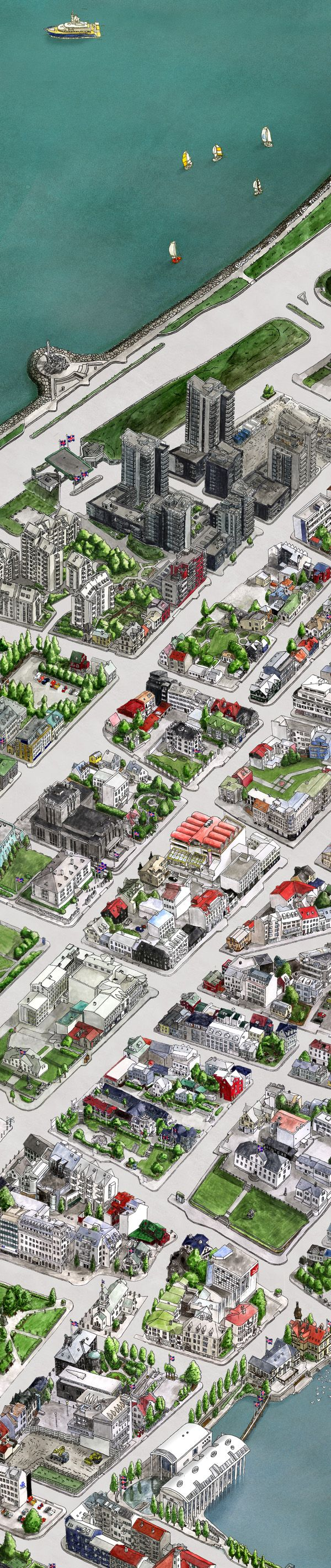 Interactive Hand-Drawn Map of Central Reykjavík
