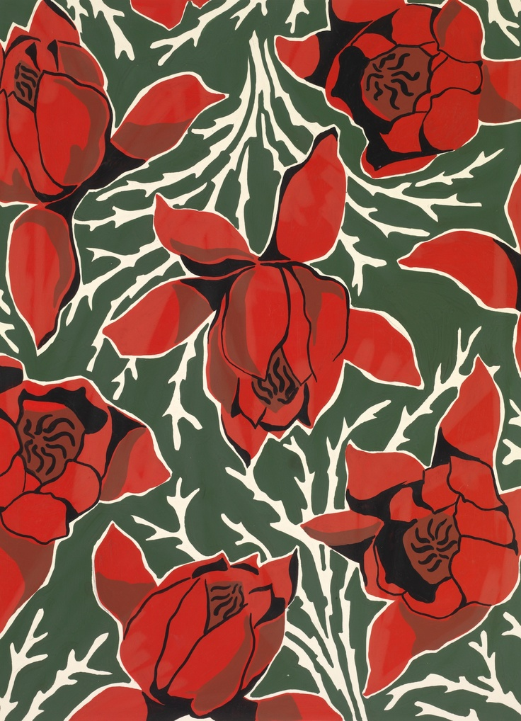 RED FLOWERS An exclusive reproduction of a Parisian textile design from Atelier Zina de Plagny, 1940s-1950s.