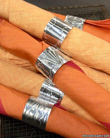 napkin rings from disposable aluminum tray