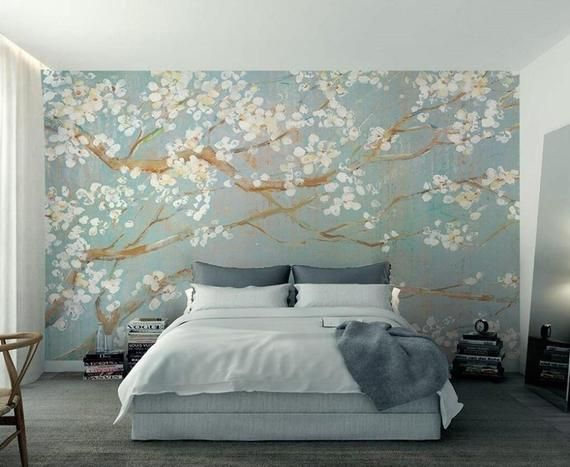 Custom Wallpaper Murals Plain Hand Painted Oil Painting Cherry Blossom TV Background Wall Wallpaper for Walls