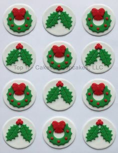 Fondant Cupcake Toppers - Christmas Holly & Wreath
