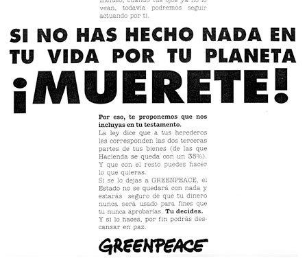 Ejemplo de publicidad institucional de Greenpeace