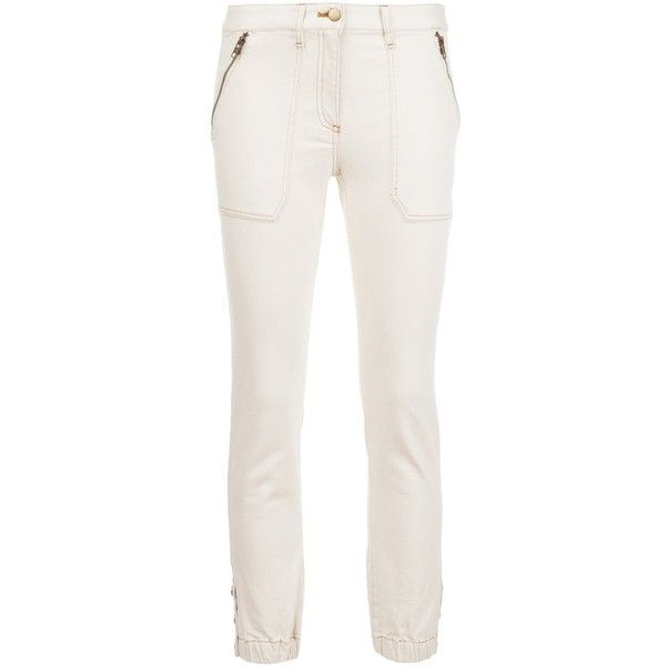 Veronica Beard cropped capri trousers ($440) ❤ liked on Polyvore featuring pants, capris, white, veronica beard, white pants, cropped capri pants, white trousers and capri pants