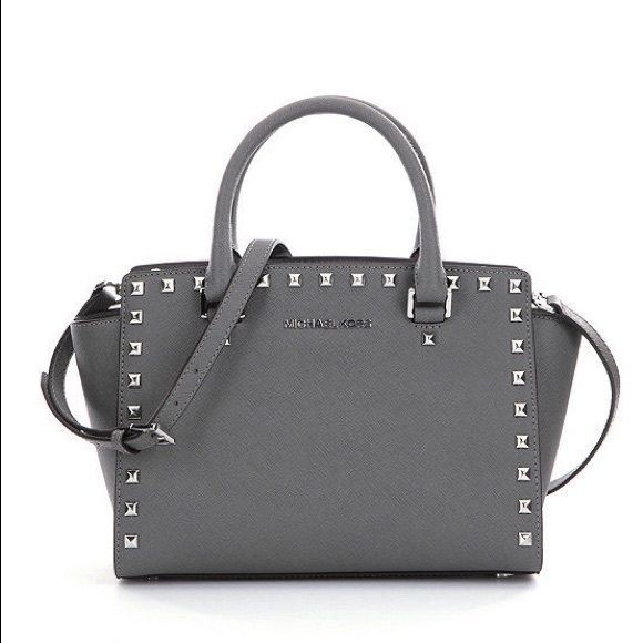 Michael Kors Selma Stud Satchel Medium In color steel grey. In brand new condition. Cross body convertible. Michael Kors Bags Satchels