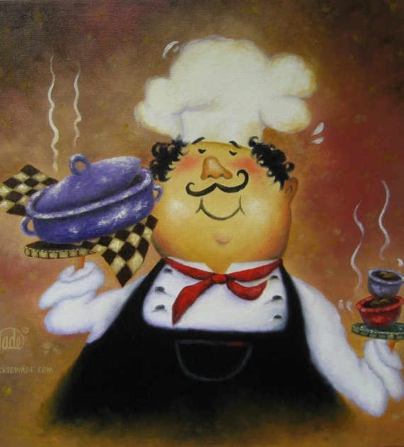 Purple Pot Chef  Original Oil Painting  by VickieWadeFineArt, $75.00