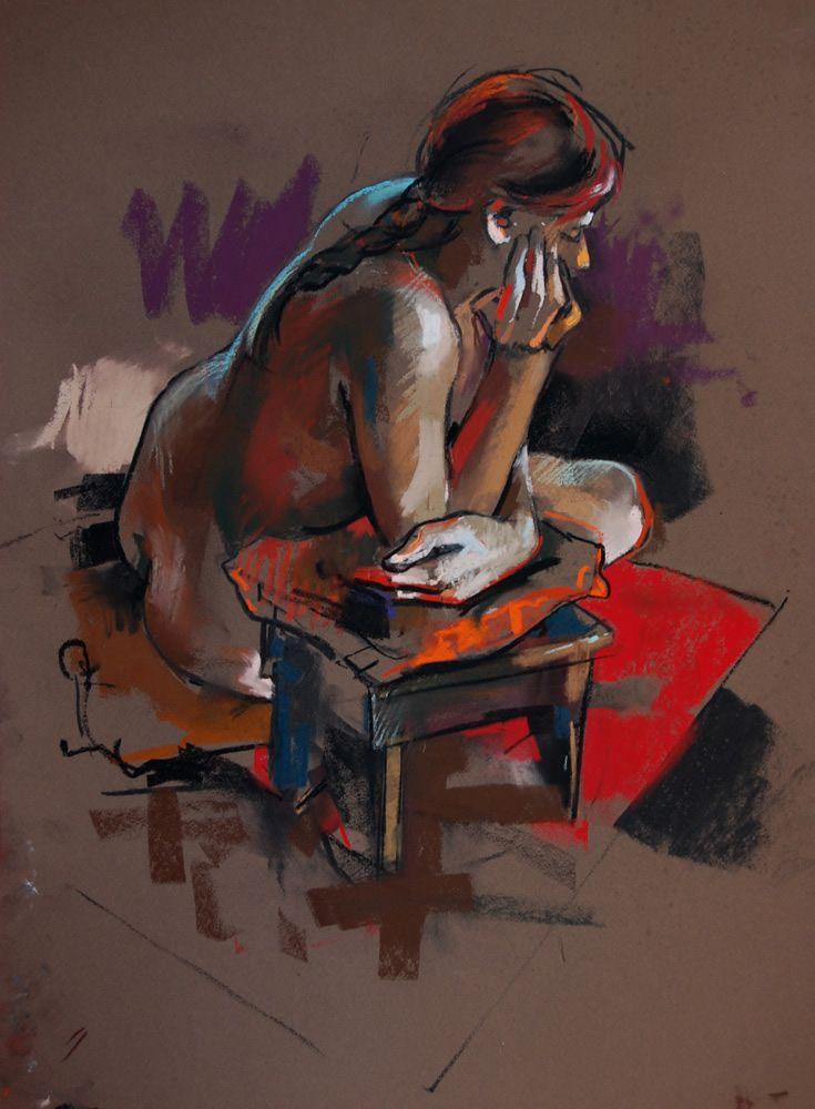 "Crawfurd Adamson, Edinburgh (1953). ""Leaning on stool"". Pastel. 28""x21"""