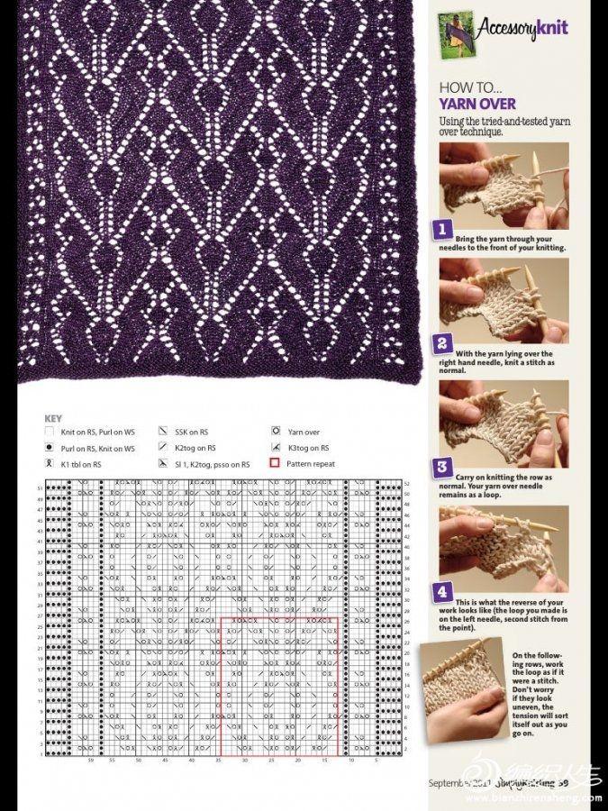 极品紫罗兰毛线披肩(ultra violet)低调的华丽 中文图解-编织教程-编织人生