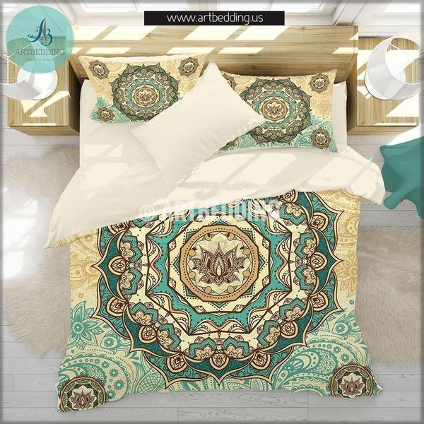 Twin Size Mandala Bedding Bohemian Duvet Cover Set Lotus Mandala