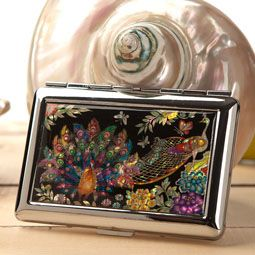 Antique Alive Mother of Pearl Cigarette Case with Peacock Design