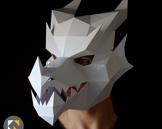 Dragon Mask V2 Papercraft Mask Template Etsy Make Your Own Card Paper Crafts Mask Template